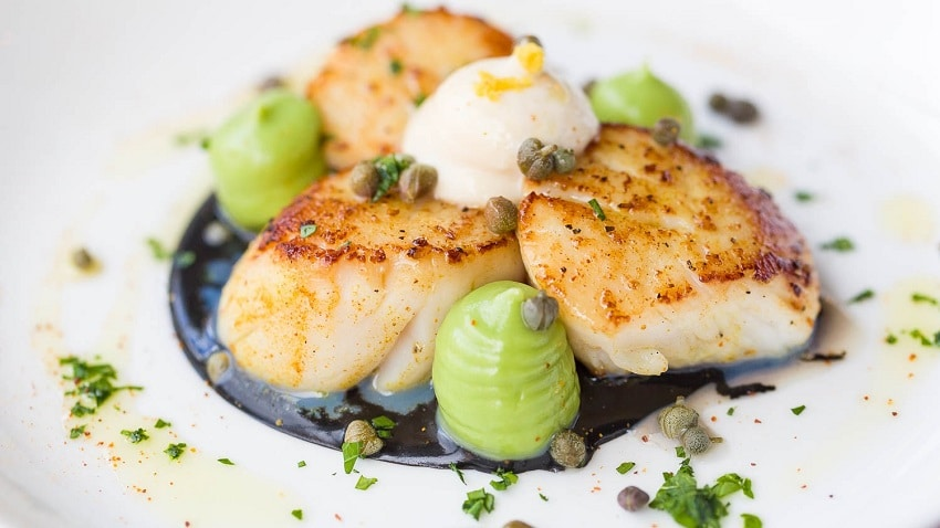 Roast scallops with squid ink sauce, avocado purée, aioli, capers