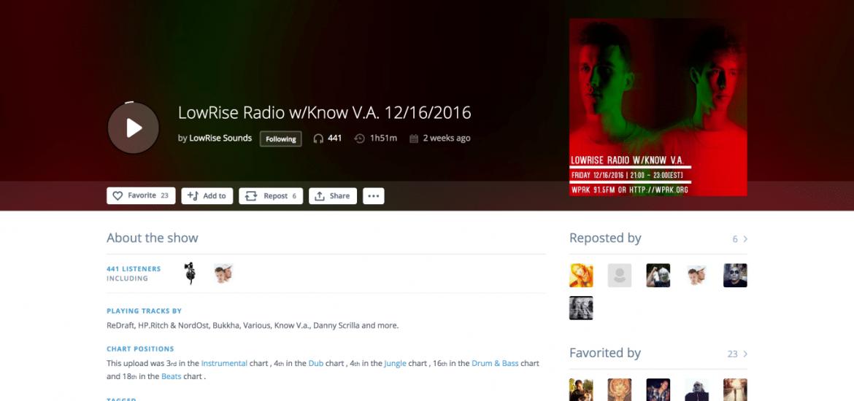 New Show page screenshot