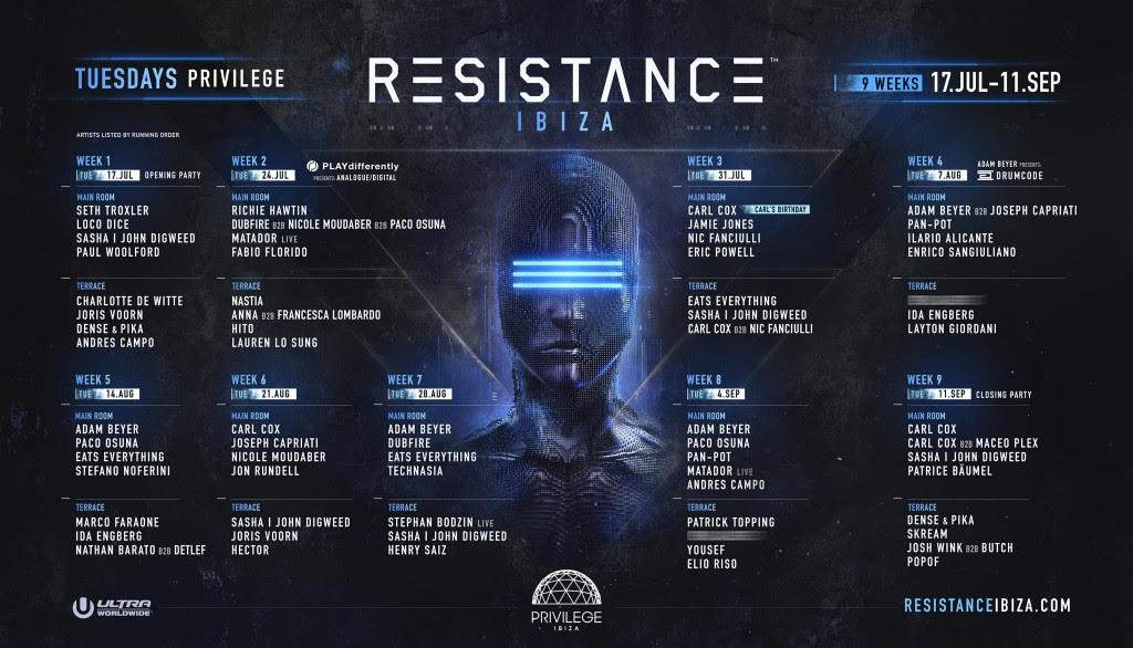 resistance ibiza announces full lineup and programming for and epic