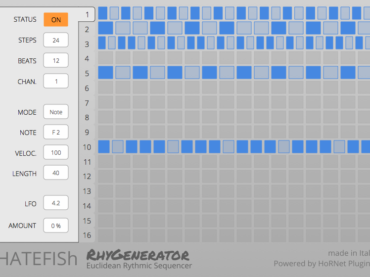 RhyGenerator – the Euclidean step sequencer made by HoRNet Plugins together with the electronic music artist HATEFISh